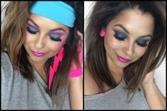 80s Inspired Makeup | Pacifica Muse Contest Round 2 - YouTube Costume Année 80, 80s Party Costumes, Costume Makeup, Costume Ideas, 80s Theme Party Outfits, 80s Party Dress, Purple Lipstick, Purple Eyeshadow, 1980s Makeup