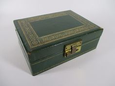 Green Faux Leather & Velvet Rectangular 2-Tiered Vintage Jewelry Box Case