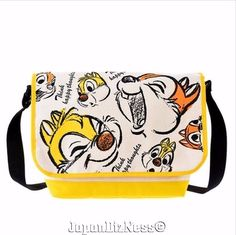 New Japan Disney Store Crazy Chipmunks Chip & Dale Sketch Messenger Bag #JapanDisneyStore