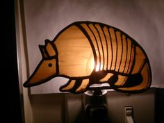 Stained Glass Armadillo Night Light by MostlyGlassAndMetal on Etsy, $28.00