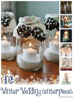 I love this rustic idea for a winter wedding - 12 DIY Wedding Centerpieces for Your Winter Wedding | AllFreeDIYWeddings.com