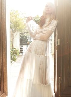 romantic, ethereal… made from silk tulle and Chantilly lace #romantic_wedding_gowns #costarellos_wedding_dresses see more :http://www.love4wed.com/christos-costarellos-2014-new-bridal-campaign/