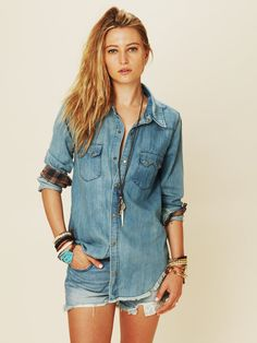 Really like this particular chambray button-up shirt. (True Grit Denim Top)