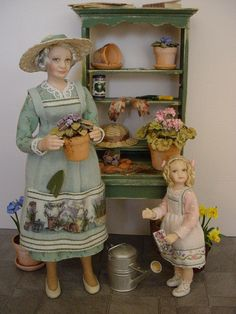 GOOD TIMES: March - Time For Gardening with Granny (Dollshouse dolls by Debbie Dixon-Paver)
