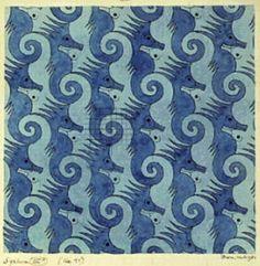 M.C. Escher dark blue and light blue sea horses