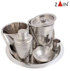 "Magickart offering ""Zain"" branded hammered bar accessories set online with free shipping in India."