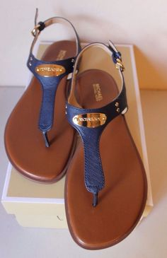 b2ff18245e26 Michael Michael Kors MK PlateThong Sandal Leather NAVY Women s Size 10 NEW…