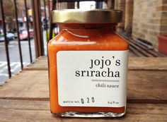 Jojo's Sriracha is a locally sourced, handcrafted chili sauce made in small batches by Brooklyn-based Jolene Collins of Love of Jojo. Spices Packaging, Jar Packaging, Food Packaging Design, Coffee Packaging, Jar Labels, Food Labels, Ketchup, Jar Design, Label Design