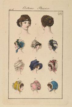 Empire Mode Stich Fashion Original 1806 Costume Parisien Hauben Hüte Caps