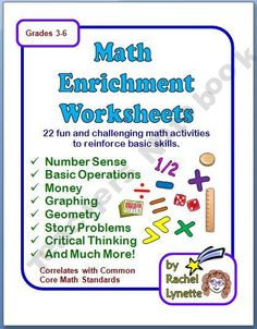 Printables Enrichment Math Worksheets printables math enrichment worksheets sharpmindprojects and on pinterest with answer keys
