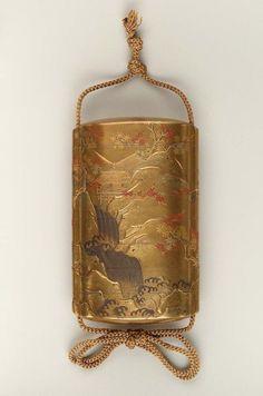 Seven-case inro with autumn landscape design, mid 18th century, Japan