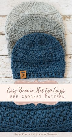 Seed Stitch Beanie Crochet Hat Pattern - Kirsten Holloway Designs - - Keep the men in your home warm this winter with the quick and simple seed stitch beanie. The free crochet pattern comes in 4 sizes to fit women and kids. Mens Beanie Crochet Pattern, Beanie Pattern Free, Easy Crochet Hat, Crochet Hats For Boys, Crochet Men, Free Crochet, Crochet Patterns, Knit Hats, Free Pattern