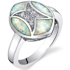Red Fire Opal Ring in Sterling Silver with Rhodium Finish, Available in Sizes 6 to 8 - Rellek Jewelry