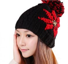 Fashion flower winter hats for girls hairball knit beanie hat