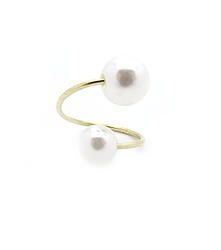 Twisted Pearl - Delicate statement ring with double pearl feature  S/M fit