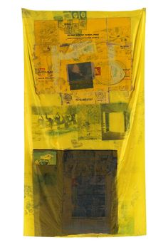 Robert Rauschenberg, Sulphur Bank (Hoarfrost), 1975, Solvent transfer on fabric with cardboard and paper bag, 65 x 35 inches  Art © Robert Rauschenberg Foundation/Licensed by VAGA, New York, NY
