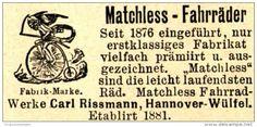 Original-Werbung/ Anzeige 1898 - MATCHLESS HOCHRAD - FAHRRÄDER / CARL RISSMANN…