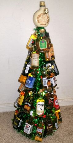 Mini bottle whiskey tree... One of each type of whiskey i could find.