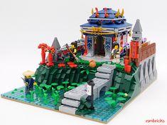 Lego Model : A samurai's secluded retreat Lego Minifigure Display, Lego Display, Lego Ninjago City, Lego City, Lego Juniors, Amazing Lego Creations, Lego Table, Lego Modular, Lego Construction