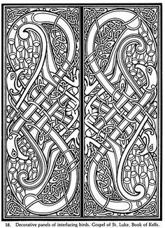 Celtic Arts & Crafts Fun Kit Decorative panels of interlacing birds - Gospel of St Luke - Book of Kells by neefer, via Flickr