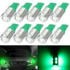 10Pcs Green T10 20Lm 2.3W 0.17A 5730 LED Side Marker Indicator Light