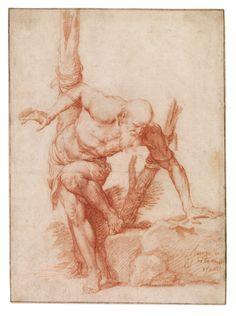 Museo del Prado. Ribera, Maestro del Dibujo. El eremita atado a un árbol h. 1620.