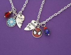 Iron Man Spider Man BFF Necklace Set Marvel Comic Inspired Jewelry Peter Parker Tony Stark Avengers Friendship Jewelry Spiderman Iron Spider Marvel Comics – Marvel Univerce Characters image ideas tips Initial Necklace, Necklace Set, Pendant Necklace, Gold Necklace, Marvel Clothes, Marvel Shoes, Bff Necklaces, Dainty Diamond Necklace, Iron Spider