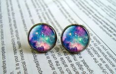 Galaxy Earring Studs Nebula Stud Earrings by EarringWorld1 on Etsy, $7.00