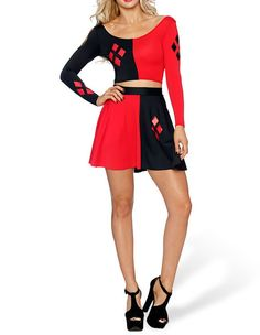 Product Code: TDD0370339 Package included: top and skirt Gender: Female Age Group: Adult Color:red and black Pattern: harley quinn Material: Polyester Fiber FadCover provides huge latest and most fash