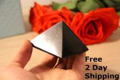 Shungite Polished Pyramid EMF Protection Healing Reiki 5cm from Karelia Russia  #KarelianHeritage