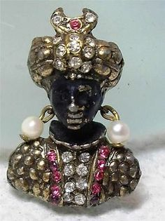 RARE Tiniest Signed Hattie Carnegie Rhinestone Blackamoor Figural Pin Brooch | eBay