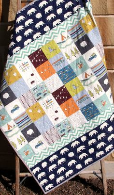 Baby Boy Quilt, Organic, Bears Camp Sur Camping Outdoors Hiking Canoeing, Boy Blanket, Fox, Modern Forest Woodland, Navy Blue, Ready to Ship by SunnysideDesigns2