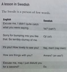 A lesson in Swedish. This is from the book: Sweden - The Secret Files by Communications expert Colin Moon. So true! Read it Learn Swedish, Swedish Girls, Swedish Men, Swedish Decor, Swedish Style, Men Quotes, Funny Quotes, Hair Quotes, Swedish Quotes