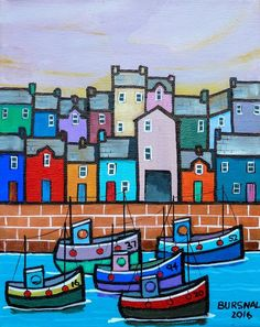 Five fishing boats leaving the quayside. Painted on stretched canvas with the image around the edges so that a frame is unnecessary. Ready to hang.