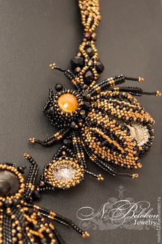 Купить Колье с жуками из симбирцита и риволи Patina Swarovski - черный, бронзовый, жуки, колье