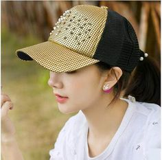 Unique color block baseball cap with stud for girls UV protection trucker caps
