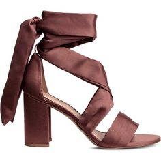 Ankle-tie sandals ($64) ❤ liked on Polyvore featuring shoes, sandals, high heel sandals, faux leather sandals, ankle strap shoes, high heel shoes and wide strap sandals