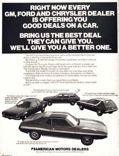 1971 American Motors Corporation model line vintage ad. Featuring the Gremlin Hatchback, Hornet Coupe, Sportabout Wagon, and the Javelin Sport Coupe.
