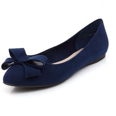 Navy Suedette Bow Front Pointed Ballet Pumps (£16) ❤ liked on Polyvore featuring shoes, flats, navy, ballet pumps, slip on shoes, navy blue shoes, navy flat shoes and ballet flats