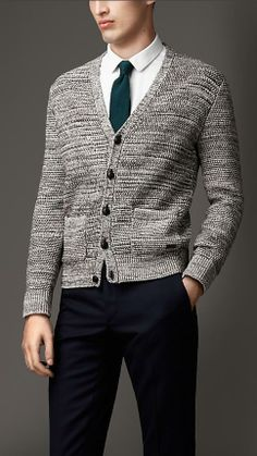 Burberry London Heavy Knit Mouliné Wool Cotton Cardigan
