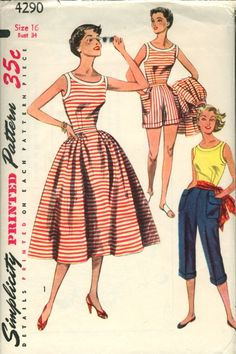 """Simplicity 4290; ©1953; Misses' Blouse, Skirt, Shorts and Pedal Pushers, Mother and Daughter Fashion: for """"Daughter"""", see Simplicity 4276. The fitted blouse is sleeveless and has a wide neckline. Bands trim neck and armhole edges. Gathers at side front and back style the skirt. Shorts have soft pleats at front waistline, patch pockets over side seams and self cuffs. Pedal pushers are styled with soft pleats at waistline, patch pockets and self cuffs."""