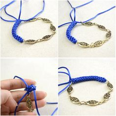 How to Make an Easy Lanyard Knot Friendship Bracelet with String and Chain