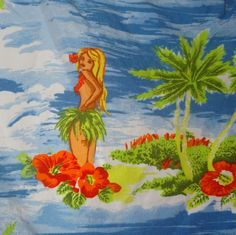 VNT Hollister California Hawaiian Shirt Hibiscus Flowers Size Large Hula Girls #HollisterCalifornia #Hawaiian