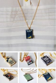 Book Necklaces @Shannon Bellanca Lee and @Emily Schoenfeld Howard this is so you!