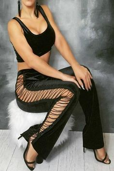 b249dee362f0b Velvet Two Piece Chain Detail Pants Set - Black Velvet Two Piece Set