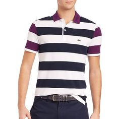 Lacoste Nautical Stripe Polo Shirt ($98) ❤ liked on Polyvore featuring men's fashion, men's clothing, men's shirts, men's polos, apparel & accessories, mens embroidered shirts, mens cotton shirts, mens polo shirts, mens short sleeve cotton shirts and mens nautical striped shirt