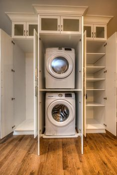 Home - Pioneer Cabinetry Laundry Solutions, Classic White Kitchen, Laundry Design, Stacked Washer Dryer, Laundry Room, Home Appliances, Crisp, Spaces, Kitchen Grey