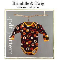 Baby sewing PATTERN onesie pdf download sizes by brindilleandtwig, $4.50