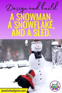 Winter STEM Activities and Challenges for Kids by Jewel's School Gems| Looking for ideas for easy Winter STEM projects? Try these Winter STEM challenges! Your elementary students will have fun designing and building a snowman, a sled and a snowflake. CLICK TO LEARN MORE!