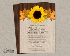 Printable Thanksgiving Dinner Party Invitation With Sunflower And Fall Leaves by iDesignStationery on Etsy